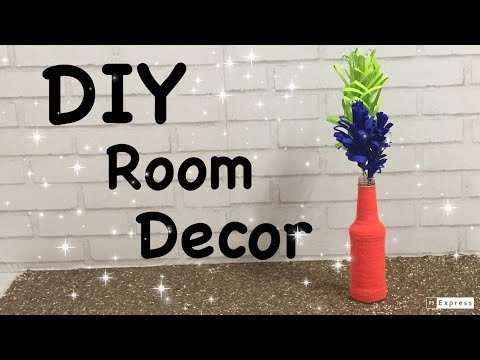 DIY Room Decor | yarn Decorated bottle vase with paper flower | paper flower vase |