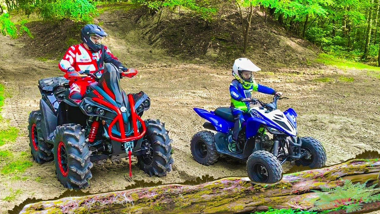 Download Den and Dad ride on Quad Bike in the forest Family Fun
