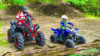 Den and Dad ride on Quad Bike in the forest Family Fun