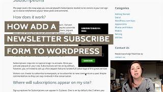 WordPress Newsletter Subscribe Form