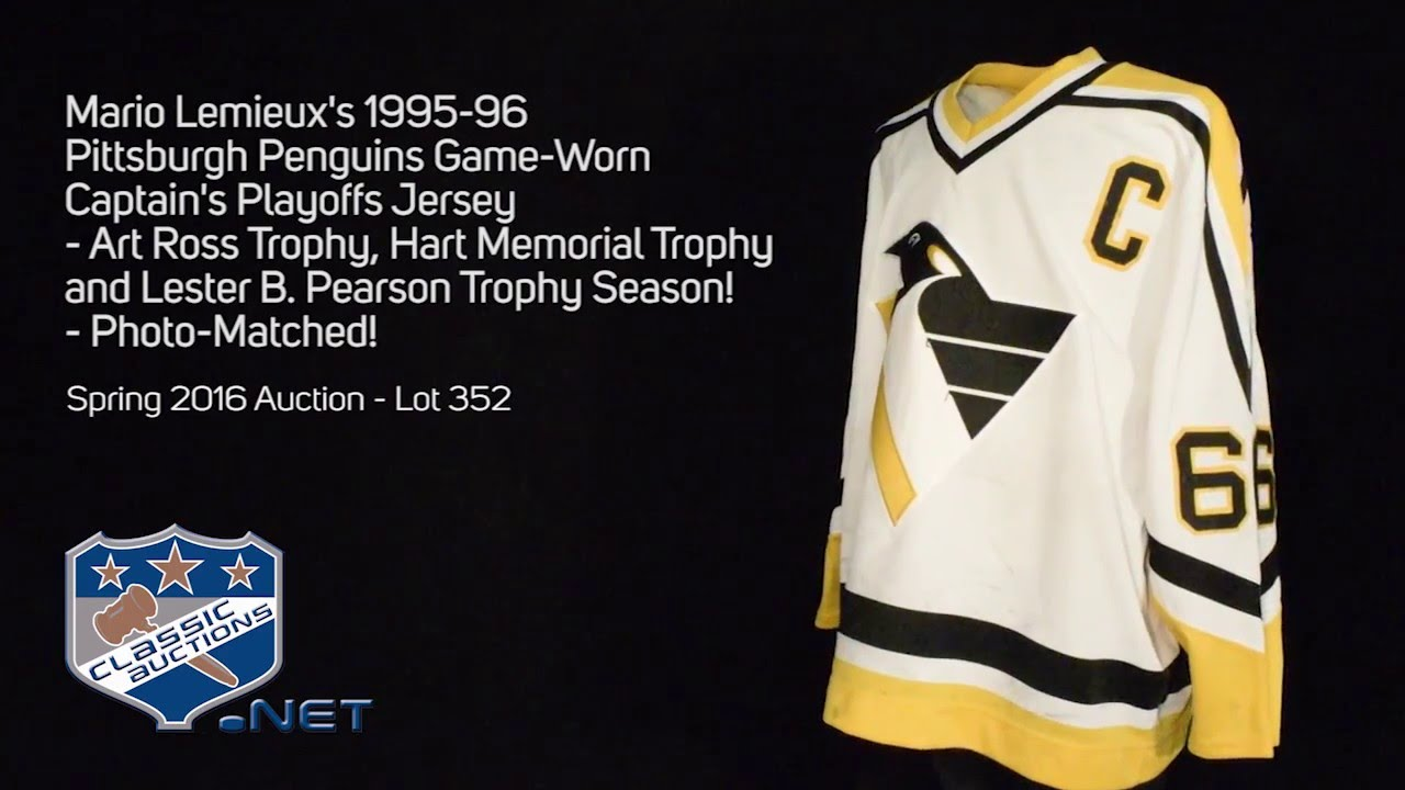 d2f907ea7 Mario Lemieux's 1995-96 Pittsburgh Penguins Game-Worn Captain's Playoffs  Jersey - Photo-Matched!