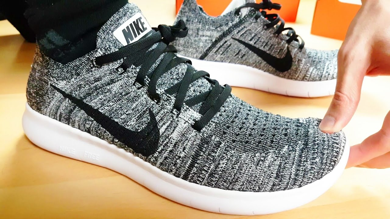 nike free rn flyknit oreo on feet