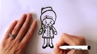 How to Draw a Cartoon Kate Middleton, Duchess of Cambridge - New Zealand Tour 2014