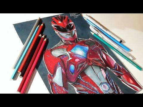 Speed Drawing Power Ranger movie 2017 Red Ranger Desenhando