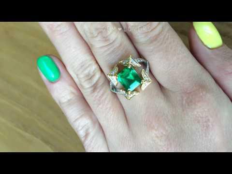 Кольцо с бриллиантами и изумрудом 1,78 карата