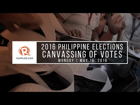 Canvassing of votes, 2016 Philippine elections, May 16