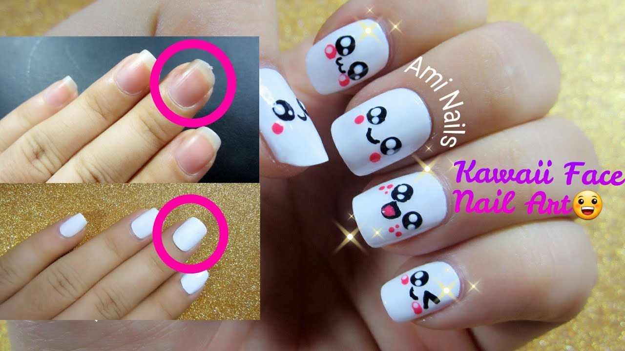 HOW TO FIX A BROKEN NAIL & Kawaii Face Nail Art かわいい | Ami Nails ...