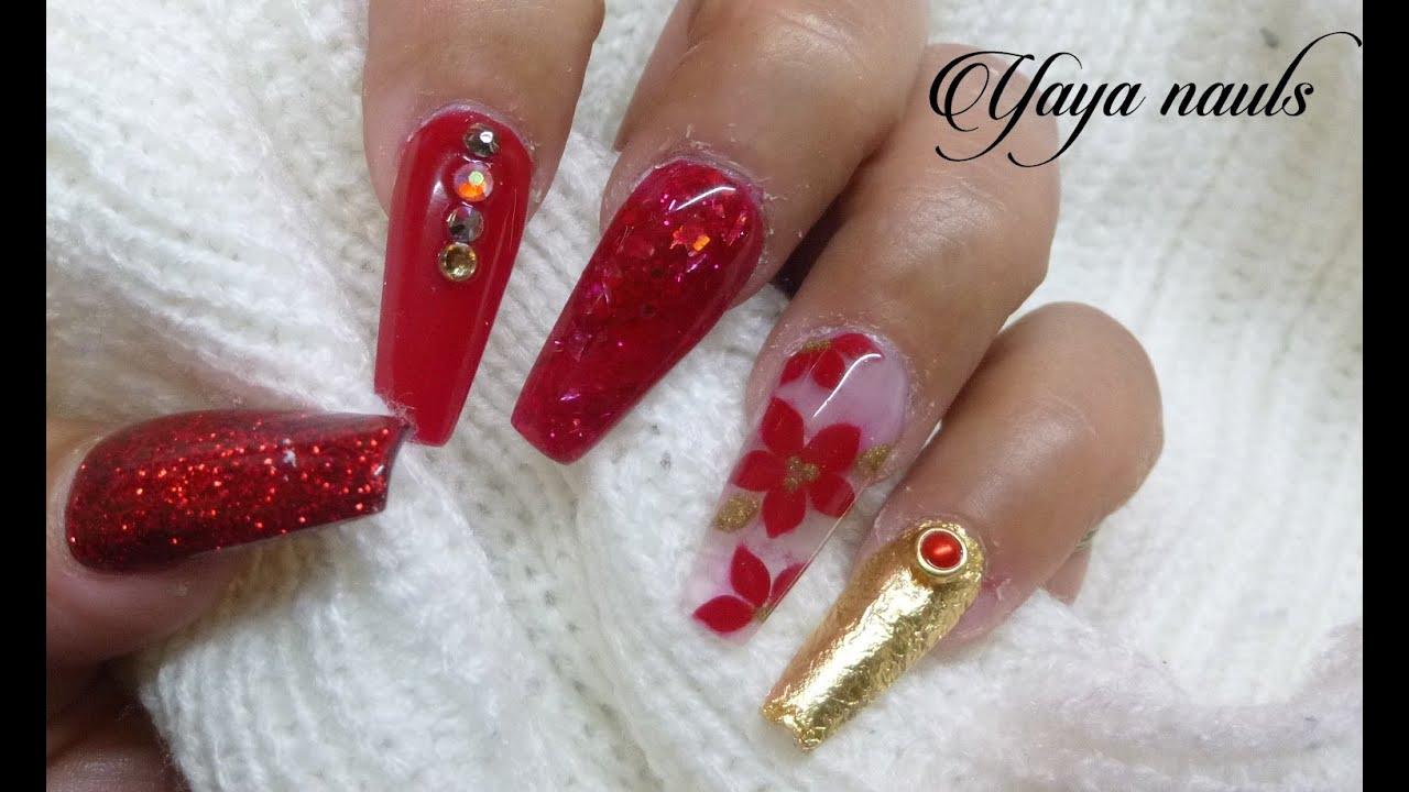 Diseño de uñas acrilicas Rojo y Dorado (( navideño ))