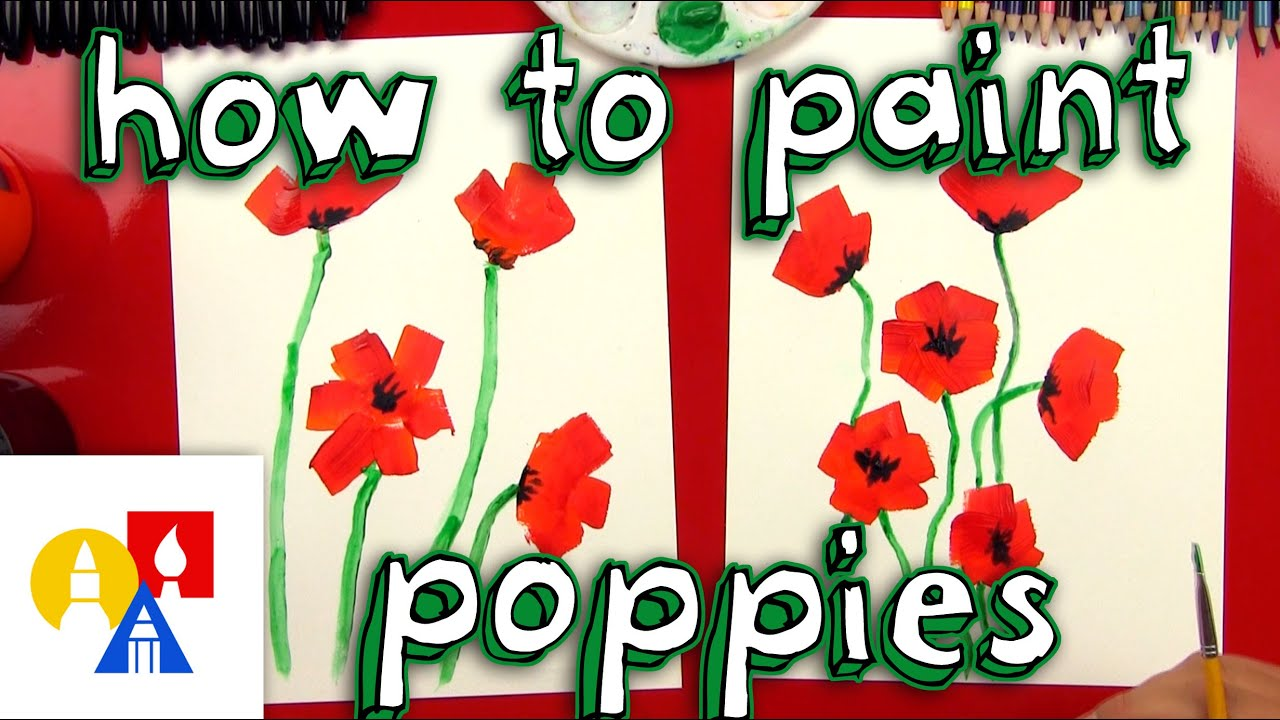 how to paint poppies for kids youtube