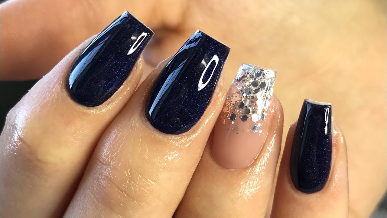 Navy Blue Nails Glitter Fade Acrylics