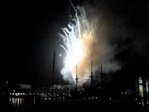 The fireworks from the Grand Opening of the Marine Museum in Amsterdam