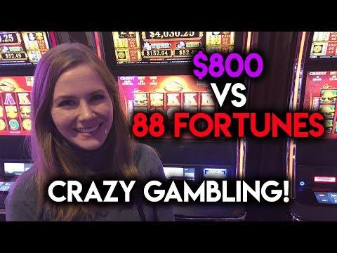 Crazy Gambling! $800 VS 88 Fortunes!