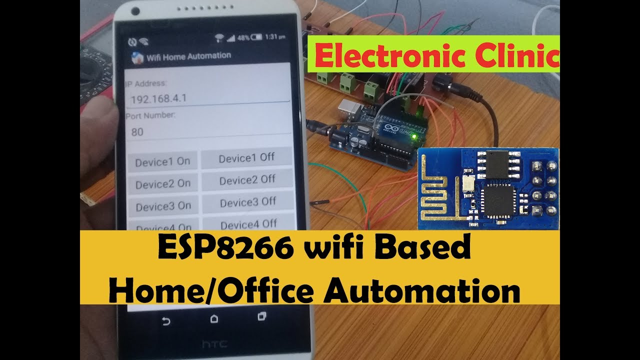 Arduino esp8266 wifi Tutorial: esp8266 Projects:Home/Office Automation  using Android cell phone app