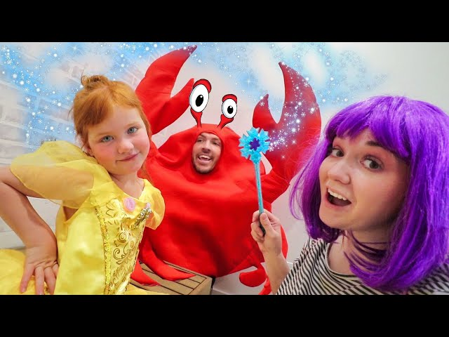 PRiNCESS MAKEOVER the MOVIE!!  Adley & Fairy Mom do a surprise disney spa, mystery guest CRAB DAD 🦀