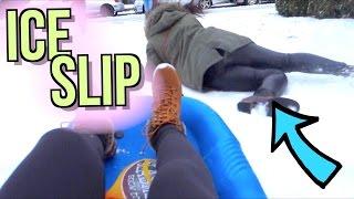 Hilarious Ice Slip Caught on Camera!! | JensLife