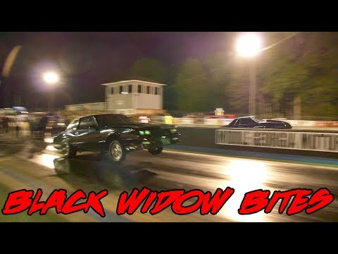 BLACK WIDOW MONTE CARLO SS TAKES OUT A MUSTANG WHILE TESTING!! SICK PASS!