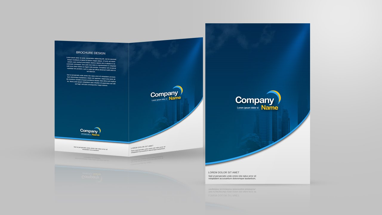 Design a two fold brochure in photoshop youtube for Two page brochure template