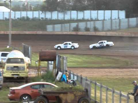 8-9-2014 pure stock heat race at the rice lake speedway in rice lake wi