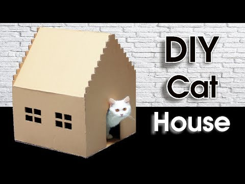 How to Make Kitten Cat Pet House Out of Cardboard at Home - Making Tricks