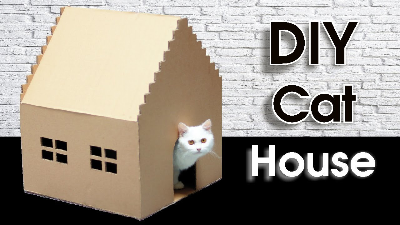 How To Make Kitten Cat Pet House Out Of Cardboard At Home Making Tricks Youtube