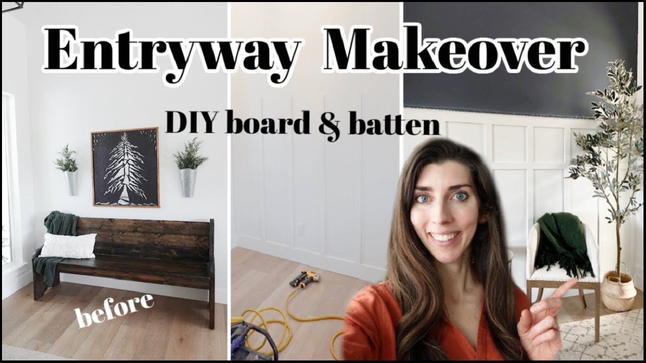 New House Small Entryway Makeover / DIY Board & Batten Wall + Decorate With Me