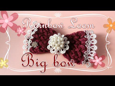 【Loom Knitting】 レインボールームで編む、大きなリボンの作り方 ~How to make a big bow on Rainbow Loom~