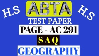 Download ABTA test paper | Geography SAQ | page AC 291| HS 2020