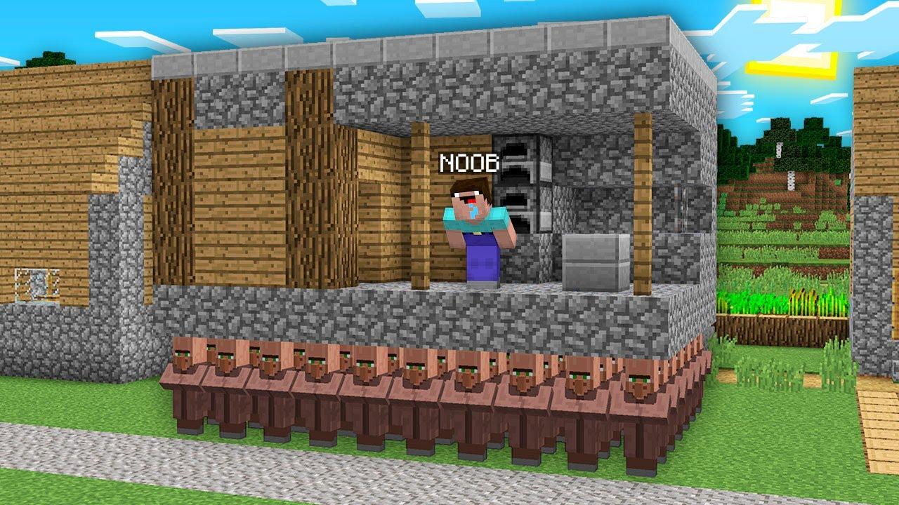 HOW VILLAGERS STOLE BLACKSMITH IN VILLAGE!? Minecraft NOOB vs PRO vs HACKER vs GOD! 100% TROLLING