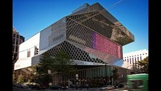 Достопримечательность Сиэтла: библиотека  из стекла и стали