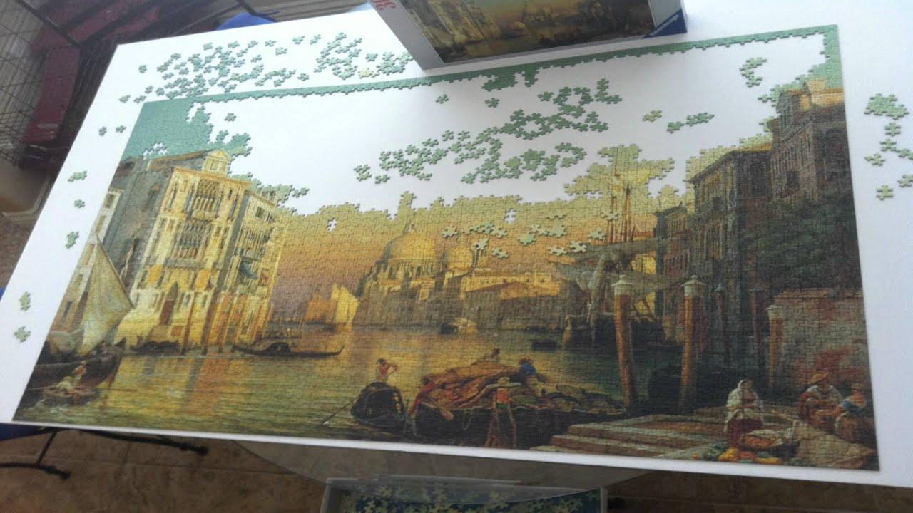 Puzzles To Hang On The Wall Woman Glues 24 000 Piece Jigsaw To Living Room Wall 3000 Piece