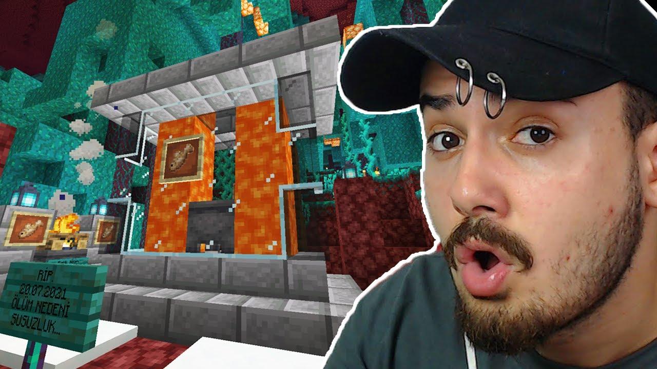 NETHER'a AKVARYUM YAPTIM! BALIKLAR YAŞIYOR! Ekiple SON Minecraft