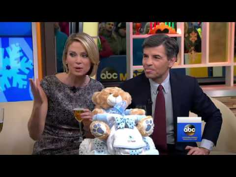 Ginger Zee surprised with a diaper cake - going to maternity leave