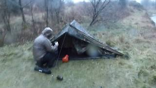 Winter Camping | Camping In The Rain | Dutch Army Canvas Tent | Wild Camping Uk