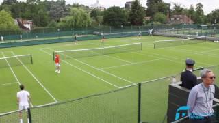Karen Khachanov and Dominic Thiem practising at Wimbledon 2017