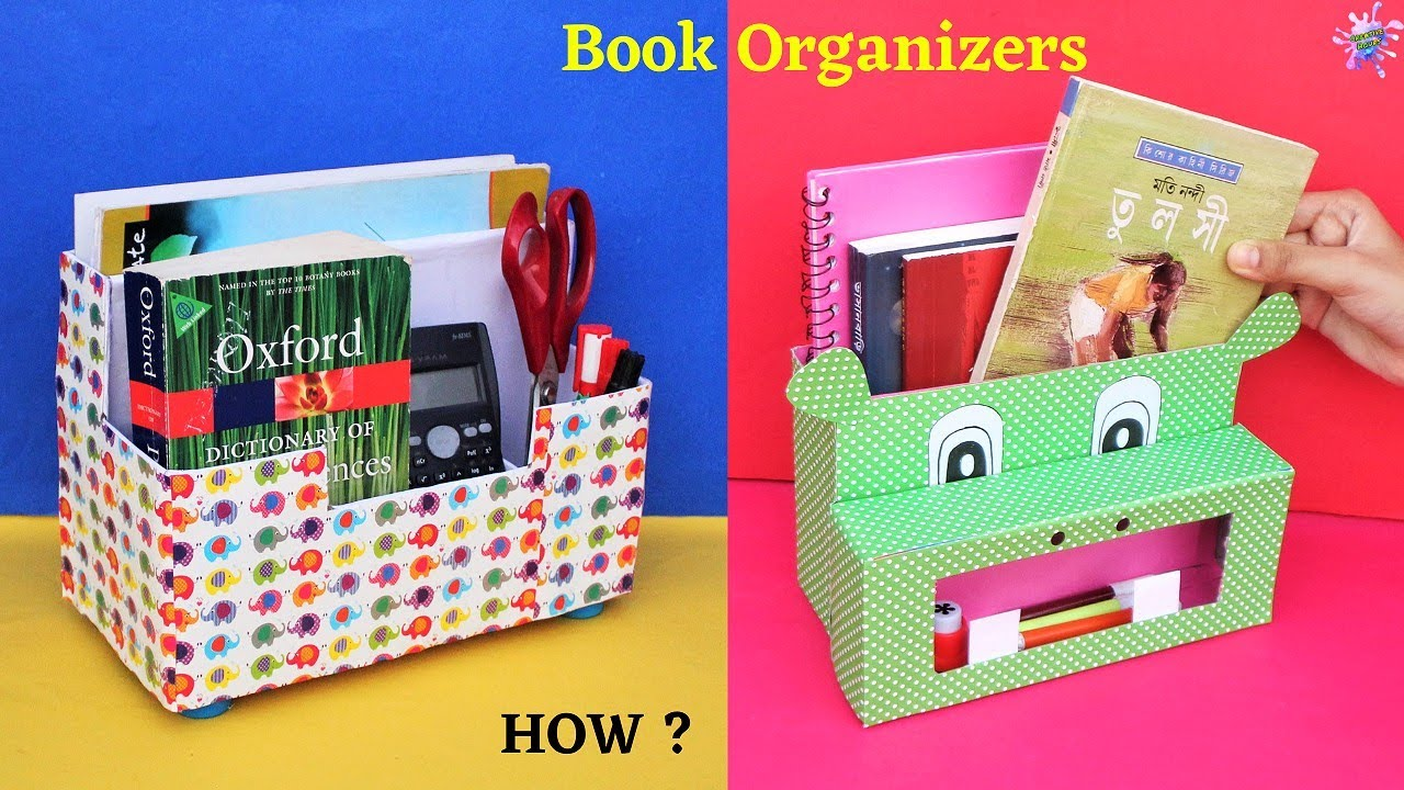 2 DIY Book Organizer/Best out of waste/ How to make Book Stand with waste cardboard box