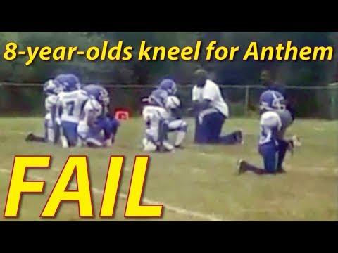 Black 8-Year-Olds Kneel for DRUG DEALER During National Anthem. #BlackLivesMatter