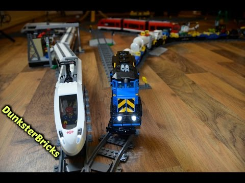 Super Long LEGO Train Track Setup! With Modified Cargo And Passenger Trains