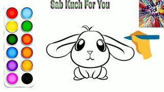 #14 How to Draw Beautiful Cartoon Bunny 🐰 very easy for children's Step by step. easily🔥