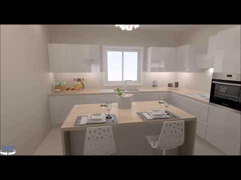 Progetto Cucina Sonia cucina collegata a living tramite porta scorrevole