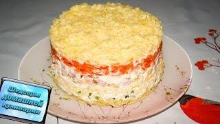 Простой слоеный салат  с картошкой и ветчиной и ...