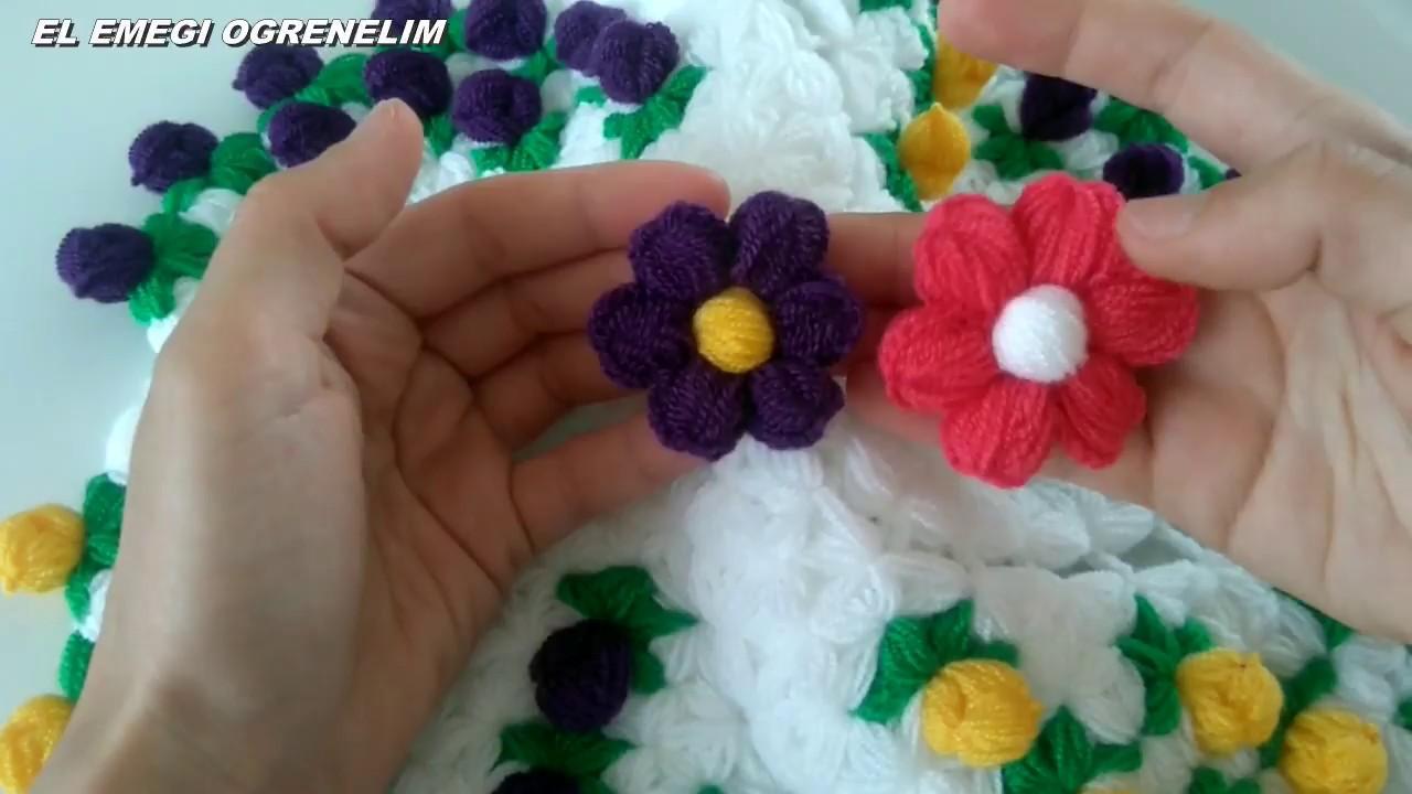 Puf Çiçekli Bebek Patik Modeli Yapılışı Videolu Anlatımlı 30