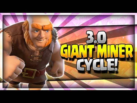 SUPER FAST 3.0 GIANT MINER CYCLE DECK!! Arena 8 to Arena 11 - Clash Royale Strategy