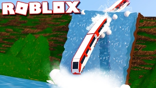 SURVIVE A TRAIN CRASH DOWN A WATERFALL IN ROBLOX!