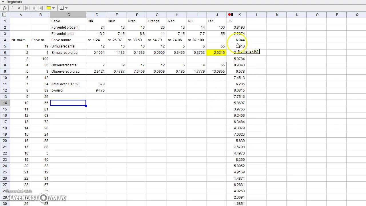 Beregning af p-værdi for farvefordeling af M&M's i GeoGebra