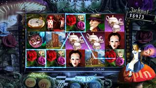 Won over 350 Credits from Free Spins on Alice in Wonderland Online Slots Game