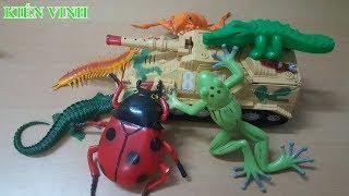 Bé học đếm số với đồ chơi xe ô tô - Xe tank tiêu diệt xe tải - Xe cần cẩu