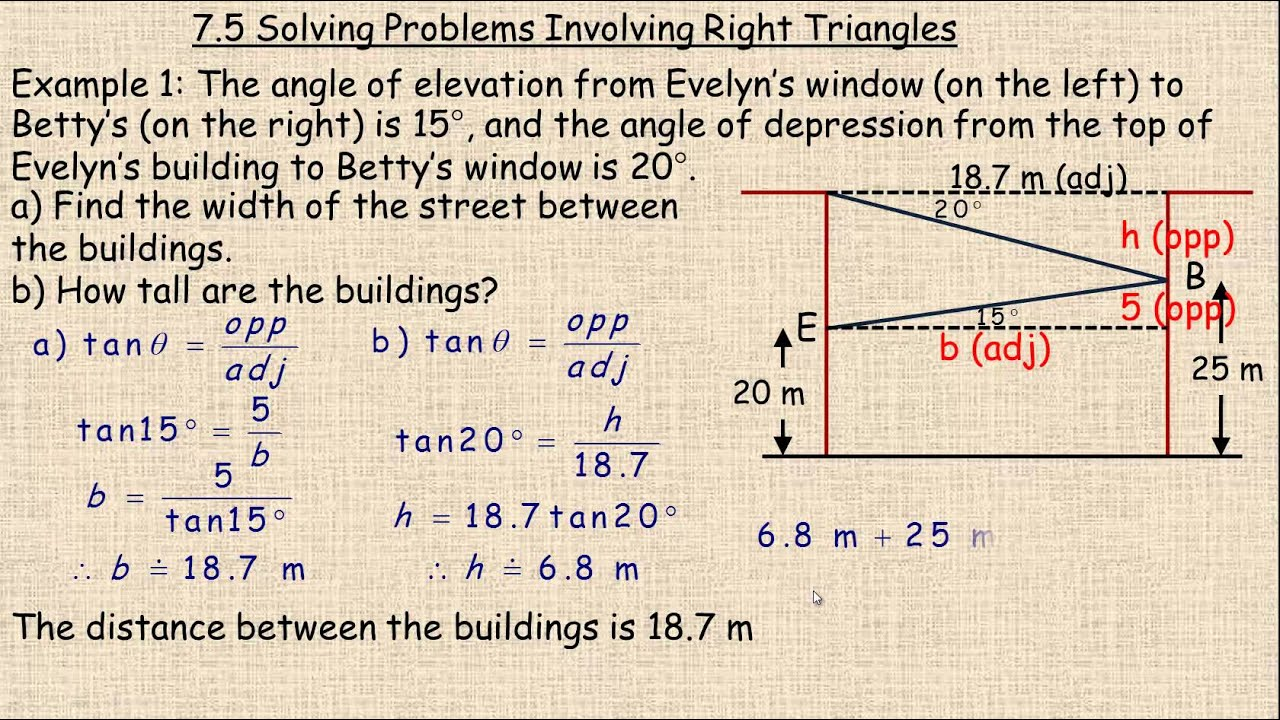 Solving Problems Involving Right Triangles - YouTube