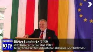 Willichs Bürgermeister Josef Heyes (CDU) und Dieter Lambertz (CDU) zum Tag der Heimat 2012