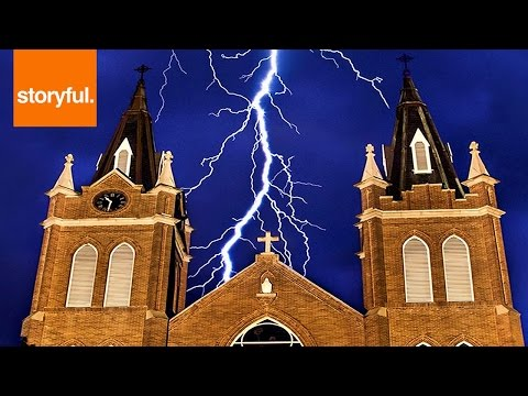 Lightning Strike Sends Sparks Over Church Roof (Storyful, Crazy Weather)
