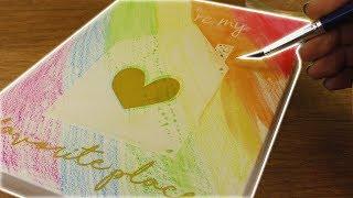 DIY Regenbogen Bild mit auquarell Buntstiften | Super schönes Bild als Zimmerdeko